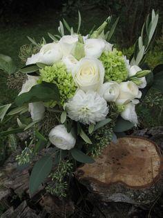 Wedding bouquet, White and green wedding flowers, Vermont Flowers, floralartvt.com