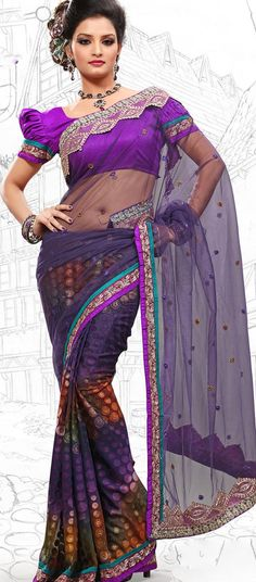 $59.03 Bluish Purple Net Latest Fashion Saree 16711 With Unstitched Blouse
