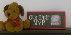 Red and Brown Nursery Decor Baby Boy Nursery Sports Photo Frame OUR LITTLE MVP