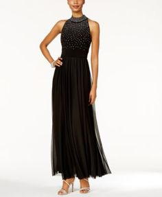 Jessica Howard Mock-Neck Beaded Gown