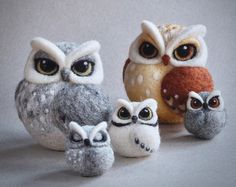 needle felted owls: brown owl, horned owl by TheLadyMoth