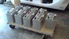 """The GEM vehicle is run on 72 volts of power stored in NINE 8 volt """"gel cell"""" batteries.  This is the new power pack that was installed and charged for the first time on March 22nd, 2013."""