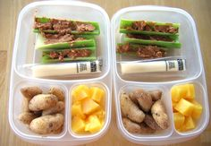 In my lunch box: Watch my VIDEO! for the recipe for these yummy finger potatoes. I learned to make them from my friend Guerin. Sweet pineapple, string cheese and crunchy peanut butter/celery logs. Much better than the school cafeteria, I'm pretty sure.