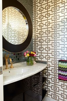 Want to powder your nose in this glam bathroom? So do we!