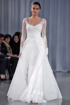 """See the """"Monique Lhuillier"""" in our Long Sleeve Wedding Dresses, Fall 2013 gallery Monique Lhuillier, Fall Wedding Dresses, Bridal Dresses, Dress Vestidos, Bridal Fashion Week, Long Sleeve Wedding, Wedding Looks, The Dress, Dream Dress"""