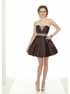 Taffeta Softly Curved Neckline Short Cocktail Dress