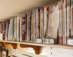 Designer Pam Buda's prairie-style fabrics and quilt patterns have their roots in ordinary pioneer women. Tour her home and sewing studio, where Pam is creating her own place in quilting history while paying homage to those who have come before her. Sewing Room Storage, Craft Room Storage, Sewing Rooms, Room Organization, Sewing Spaces, Craft Rooms, Creative Storage, Storage Ideas, Quilting Room