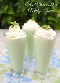 Delicious, smooth Minty Shake which is perfect for St Patrick's Day ~ with or without Liqueur ~ you decide !