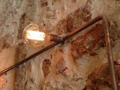 copper pipe and bulbs @ Safe as milk bar chania Interior Architecture, Interior Design, Bulbs, Light Bulb, Wall Lights, Milk, Copper, Bar, Home Decor