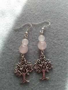Rose quartz Tree of Life Earrings Etsy Earrings, Drop Earrings, Tree Of Life Earrings, Rose Quartz, Beads, Metal, Silver, Spiritual, Jewellery