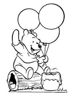 Winnie The Pooh Holding Balloons