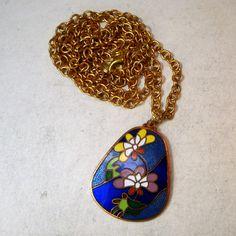 Sarah Coventry Enamel Flower Pendant Gold by VintageStarrBeads