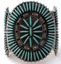D J Ghahate Sterling Silver Turquoise Cuff Bracelet Zuni Needlepoint Vintage 925