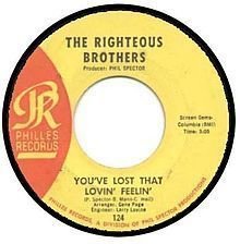 """February 2015 """"You've Lost That Lovin' Feelin"""" by the Righteous Brothers on the Billboard Hot February 1965 on the Record Retailer Singles Make Mine Music, I Love Music, Kinds Of Music, Good Music, 60s Music, Music Songs, Music Radio, Music Stuff, 45 Records"""