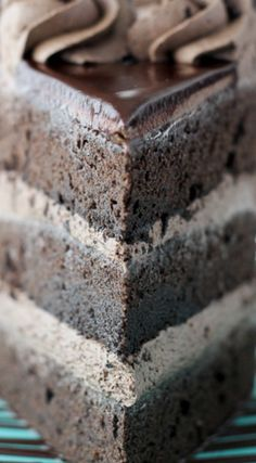 Chocolate Mudslide Cake ~ Loaded with chocolate, Kahlua and Bailey's Irish Cream... The decadent chocolate cake is covered with a spiked buttercream and covered with ganache.