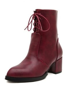 Shop Burgundy PU Lace Up Front Zip Side Chunky Ankle Boots from choies.com .Free shipping Worldwide.$28.11