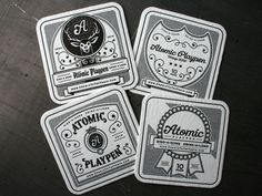 Letterpressed Coasters (love the  ornate line work and typography // Atomic Playpen