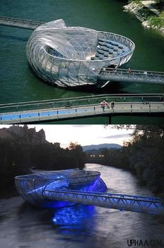 when man gets architecture right!!Aiola Island Bridge - Mur River in Graz, Austria - It has a sunbathing area, a trendy bar and a coffee house, plus it allows you to cross the Mur River