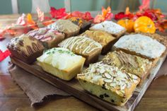 Fall quick breads: apple, peanut butter banana, ginger pear, cherry almond chocolate, lemon thyme, maple stout, spiced peach carrot, strawberry pineapple, lavender, chocolate orange, pumpkin cream, and sweet potato pecan date bread recipes