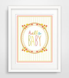Children's Wall Art / Nursery Decor Hello Baby print by KZukowski, $5.00
