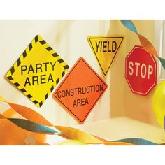 """Check out Construction 7"""" Traffic Signs from Birthday In A Box"""