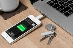 Kii is a compact charger-connector that fits on a keychain allowing you to plug in to charge or sync devices from any computer without having to carry a charger or tote around a cable connector.