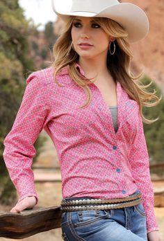 CRUEL GIRL RODEO Western Barrel Pink Geometric Button SHIRT COWGIRL NWT MEDIUM #CruelGirl #Western