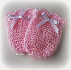 Crochet Baby Mittens, Crochet Mittens Pattern, Baby Booties Free Pattern, Crochet Baby Hat Patterns, Booties Crochet, Crochet Baby Shoes, Crochet Baby Clothes, Newborn Crochet, Free Crochet