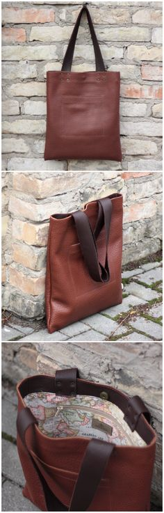 Brown leather tote bag from DIStories