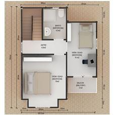 İki Katlı Ev Planları 91 m2