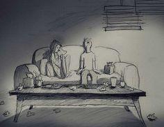 Este artista quiso demostrar su amor por su esposa con estas ilustraciones: Juntos en la salud y en la enfermedad.
