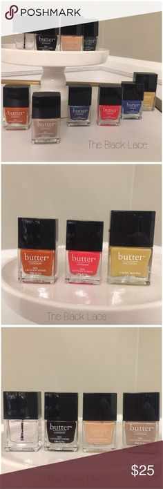 Bundle of Butter London nail polish 10 pieces Butter London bundle of 10 !!! Super deal , colors included: Bumster (11ml), clear hardwear,petrol,nail foundation, yummy mummy,giddy kipper,machbeth, brick lane,la moss,chimney sweep ...... All of them are 6ml just the color Bumster is 11ml !!! NEVER USED , SEALED,they don't come in the original box , ask if you have any questions THANK YOU Butter London Accessories