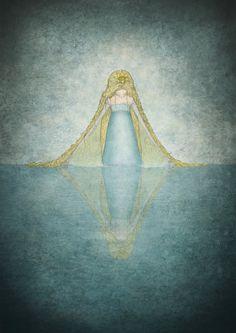 "Princess of the lake - Illustration print (size 7"" x 5"")"