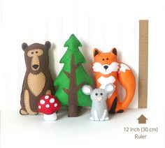 This listing is for patterns and instructions to sew by hand three felt woodland animals (fox, bear and mouse) as well as a pine tree and mushroom. ~~~o~~~o~~~o~~~o~~~o~~~o~~~o~~~ • This is a DIGITAL DOWNLOAD, not a PHYSICAL PRODUCT. You will not receive anything in the mail / by