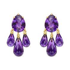 Bielka 18k Gold & Amethyst Chandelier Earrings