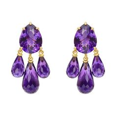 Bielka 18k Gold & Amethyst Chandelier Earrings