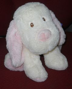 "New Toys R Us Dog Plush Stuffed Cream Pink Puppy 11"" Puppy Sewn Eyes 2014 NWT #ToysRUs"