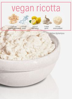 You can now make vegan cheese and it's easy, fast and delicious! This recipe is healthy and budget-friendly. Add salt to taste. Let set in fridge for 2 hours… Vegan Cheese Recipes, Vegan Recipes Plant Based, Dairy Free Recipes, Vegetarian Recipes, Healthy Recipes, Plant Based Snacks, Healthy Meals, Gluten Free, Vegan Ricotta