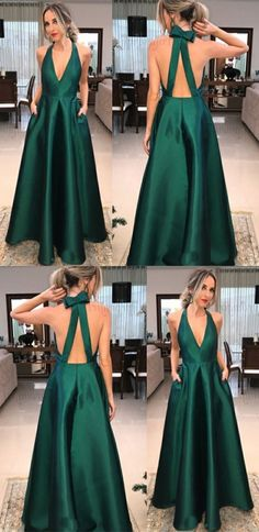Simple green party dress, v neck prom dress, stain long evening dress 51618 Prom Dresses With Pockets, Prom Dresses With Sleeves, A Line Prom Dresses, Mermaid Prom Dresses, Prom Party Dresses, Homecoming Dresses, Elegant Prom Dresses, Formal Evening Dresses, Evening Gowns