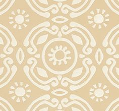 Soleil Fabric A woven upholstery fabric featuring a large contemporary motif repeated with a stylised sun design in white on sand.