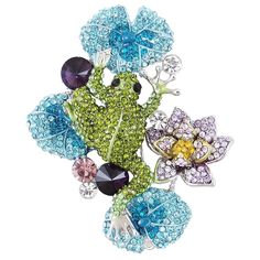 EVER FAITH® Silver-Tone Austrian Crystal Frog Lotus Flower Brooch Green Blue ** Check this awesome product by going to the link at the image.