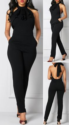 Solid color black jumpsuit with American neckline – 2020 Spring Fashion Models Classy Dress, Classy Outfits, Stylish Outfits, Fashion Outfits, Classy Casual, Classy Style, Black Jumpsuit Outfit, Romper Outfit, Jumpsuit Dressy