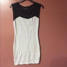 Grey and black body con dress See through black material on top of chest and top of back Forever 21 Dresses Mini