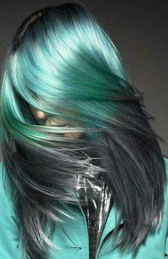 Metallic green hair color to smokey ash grey ombre for medium length hair. Love it! #green #hair #grey