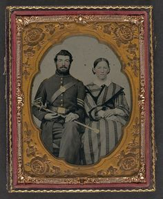 [Unidentified soldier in Union sergeant's uniform with Model 1840 non-commissioned officer's sword next to unidentified woman] (LOC) by The Library of Congress, via Flickr