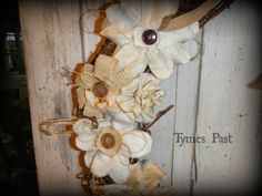 Tymes Past Antiques and Vintage Decor: Shabby Fabric Flower Grapevine Wreath