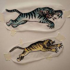 Angry Tigers Available for Tattoo by Sara Swanson! Www.stademonia.com #StaDemoniaTattoo #Tattoo #Barcelona #Aprendiz #OldSchool #Tradicional #Aprentice #Tiger #Tigre