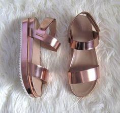 Metallic shoes.