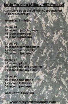 Complete each circuit as directed with 60 seconds rest in between circuits. Warm up: 1 mile jog Circuit #1 60 seconds jumping rope ...