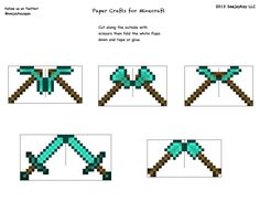 Minecraft Templates, Minecraft Plans, Minecraft Crafts, Minecraft Houses, Paper Toys, Paper Crafts, Origami Paper, Projects, Doraemon